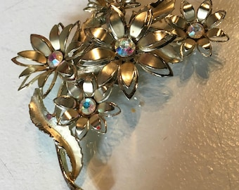 Vintage Coro Metal Flower Brooch with Rhinestones