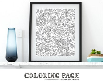 Instant Download Floral Coloring Page Printable Adult Coloring Book AntiStress Coloring Art Therapy Printable Coloring Wall Art Digital Art