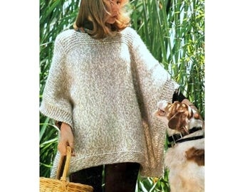 Vintage Knitting Pattern  Ladies Poncho   Chunky Bulky   Easy Knit  Cape Wrap Cloak  INSTANT DOWNLOAD