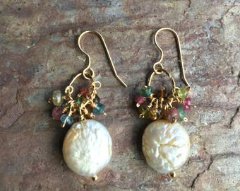 Freshwater pearl and tourmaline gemstone  gold dangle earrings