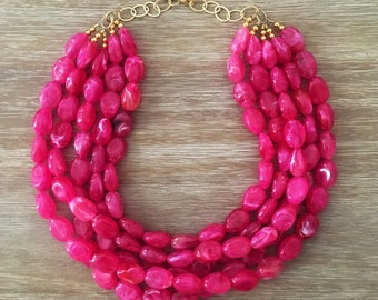 Pink Bead Necklace – Chunky Beaded Necklace Handmade in Bright Pink Beads, Spring 2018 Fashion