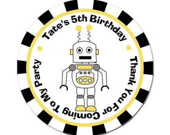 Personalized Birthday Labels / Robot Stickers / Birthday Stickers / Boy Birthday / Custom Favor Labels / Thank You Stickers