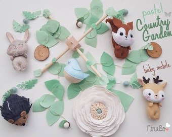 Forest Mobile - Woodland Mobile - Baby Mobile - Cot Crib Mobile - Woodland Nursery - flower Mobile
