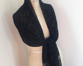ETHNIC BURNOUT SHAWL Vintage Black Oblong Fringed Silk Rayon Scarf