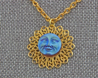 Handmade  Necklace  Art Necklace Blue moon on Russian Gold Plate Hand  Assembled 16 inch chain
