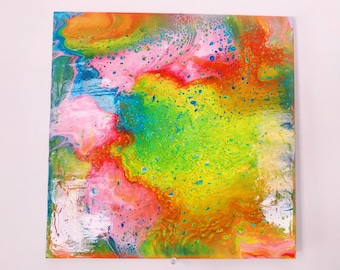 Rainbow- Fluid painting, mineral paintings, dirty pour, colorful painting, earthy, dirty pour, fluid art, abstract art