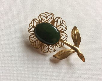 Pretty Green Flower Brooch