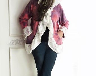 Hoodie tie dye Sweatshirt, hooded Jacket, FREE SHIPPING, ruffle, size medium large, high low jacket, boho coat, junior hoodie, purple red