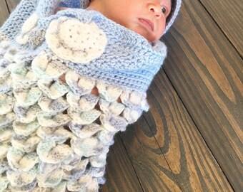 Boy or girl owl cocoon crochet set