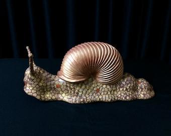 Golden, Wooden Garden Snail