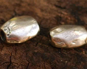Two Sterling Silver Pebble Beads, DL11