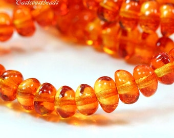 Potato Beads, 6x4m, Fire Opal Potato Beads, 4 x 6 mm. Small Petite Spacer Beads, Accent Beads, Czech Beads, Jewelry Supplies, 30 Pieces