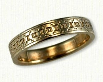 Narrow Southwestern Saguaro Style Wedding Band -4.0 mm - Available In All Metals & Sterling Silver