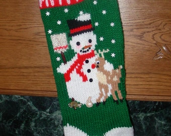 "Knitted Christmas Stocking Pattern - ""Frosty"""