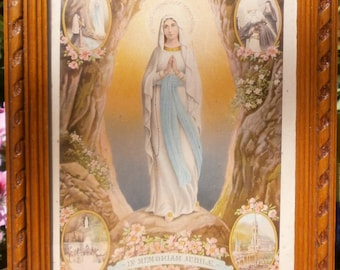 french Framed holy picture immaculate frame design in carved wood Holy picture Lourdes France