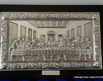Home Decor last Supper Jesus wall plaque Last Supper Silver Plated onWood Wall Frame Plaque 15'