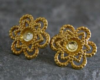 Stud Earrings, Gold Earrings Stud, Flower Earrings, Gold Flower Earrings, Gold Stud Earrings, Flower Earrings Studs, Delicate Small Studs,