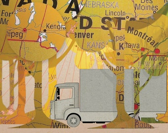 Map Illustrated postcard Truck