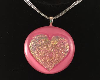 Dichroic Heart Pendant - Fused Glass