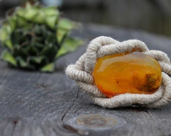 Huge Baltic Amber Bracelet Raw Stone Jewelry Honey Orange Yellow Bee Linen Sailor Rope Knot Summer Fashion Gift for her