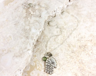 Good Fortune (PERIDOT) - Hamsa silver brass pendant with gemstone charm on a sterling silver chain