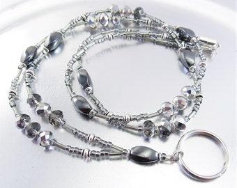 ID Lanyard, Badge Holder - Hematite and Black Diamond Crystal Glass Beaded ID Lanyard