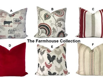 Farmhouse pillow covers, Throw pillows, Decorative pillows, Red pillows, Red throw pillow, Couch pillows, Bed pillows, Mix & Match, Any size