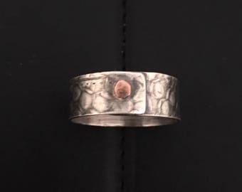 Sterling Silver Hammered Rivet Ring