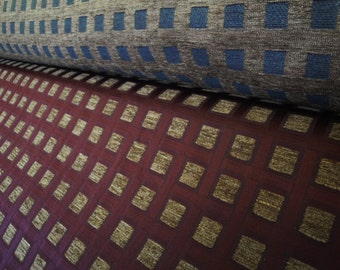 """56"""" Wide Vintage Geometric Print Upholstery Fabric Mod Print Retro Fabric Coffee and Cream and Burgundy Square Pattern Home Decor Fabric"""