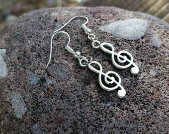 Music Note Charm Earrings - Silver Tone Treble Clef Music Charm Earrings - tween earrings Music Lover Jewelry