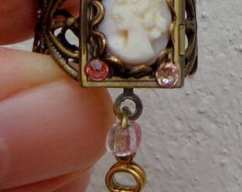 Vintage,Hand Carved,Baby Skin Pink Conch Shell Cameo,Locket Ring,Murano Glass Bead,Tiny Keys,Swarovski Crystals,Adjustable Filigree Ring
