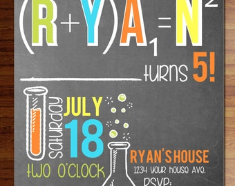 Custom digital or printed invitation + FREE SHIPPING!  Science party invitations, birthday, shower