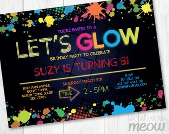 Laser Tag Invitations Birthday Party Any Age Lets Glow