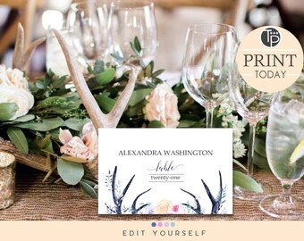 Boho place card etsy boho place cards instant download wedding place cards name tent cards seating cards solutioingenieria Gallery