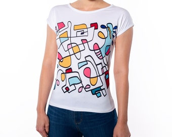 Abstract Hand Drawn Colorful Slim Fit T-Shirt