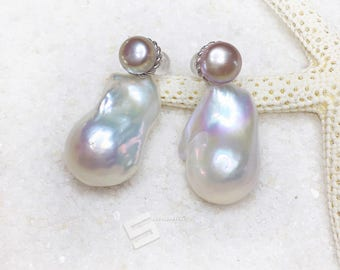 Large Baroque Pearl Earrings, Multiclolored Kasumi Cultured Pearls In Sterling Silver Changeable Earrings,  Huge Real Pearl Earrings