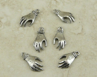 3 Pairs Left and Right Hand Charms - Doll Figure Human Manos - Raw American Made Lead Free Pewter - I ship internationally