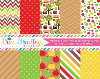 80% OFF SALE Apple Picking Fall Digital Paper Pack Polka Dots Stripes Chevron and Apple Patterns in Red Green Brown & Yellow