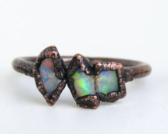 Raw opal ring - Rough opal ring - Rough opal jewelry - Australian fire opal jewelry - Fire opal ring - Rough Australian opal ring