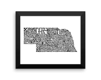 Nebraska typography map art FRAMED print customizable personalized state poster custom wall decor engagement wedding housewarming gift