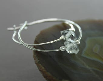 Sterling silver herkimer diamond hoop earrings, Raw quartz earrings, Herkimer earrings, Crystal earrings, Sterling silver earrings - ER116