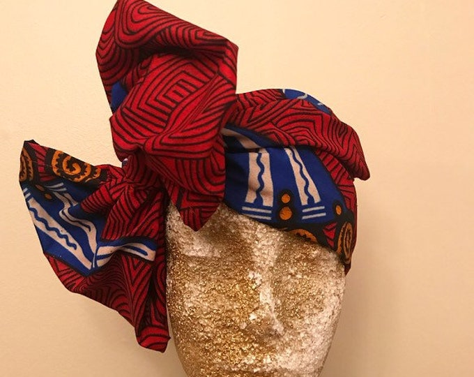 Deep Red Kuchena Half Head Wrap