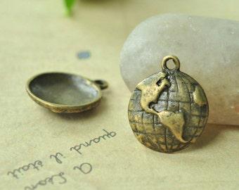 12pcs Antique Bronze World Map Charms Semi-sphere 15mm MM691