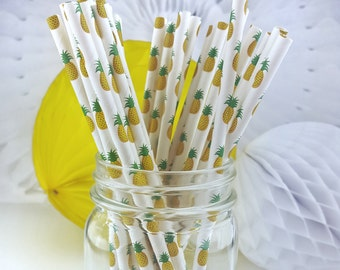 Pineapple Paper Straws  // Birthday Party, Wedding, Bridal Shower, Luau  // Bar Cart Accessory or Cake Pop Sticks