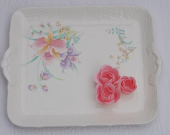 Vintage hand painted porcelain tea/ serving tray, made in Japan.Tea Party,Bridal shower.Cottage/ Shabby chic.