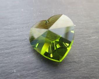 1 Swarovski crystal Iridescent Green 18 mm Crystal heart pendant