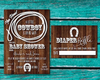 Cowboy Baby Shower Invitation | Cowgirl Baby Shower | Western Baby Shower  Invite | Rustic Baby