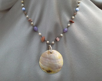 Chunky Natural Shell Necklace with Shell and Semi Precious Stones Hand Joined: Boho Chic in Treasures from the Sea