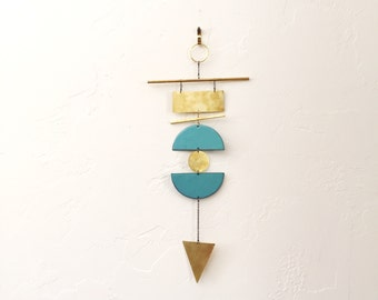 Geometric metal wall hanging metal wall art - raw brass and enameled copper
