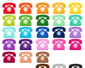 Rainbow Telephones Clipart Set - phones clip art, telephone, phone, rainbow - personal use, small commercial use, instant download